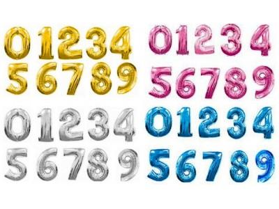 Цифры фольгированные, 80 см, 7 цветов, с гелием
