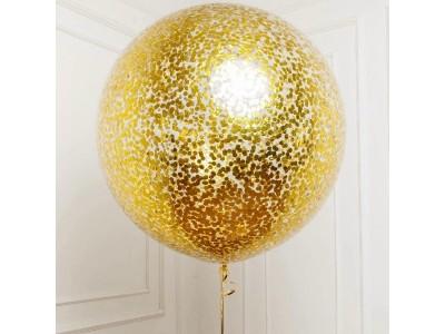 Прозрачный шар-гигант 75 см с блестками, Гелий