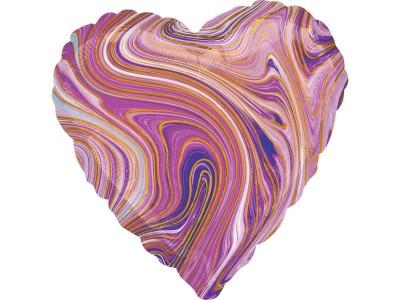 "Сердце агат фиолетовый, 18"""