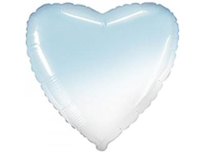 """Сердце омбре голубой,18"""""""