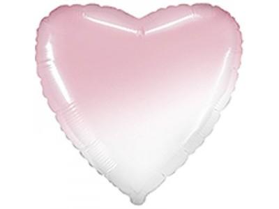 """Сердце омбре розовый, 18"""""""