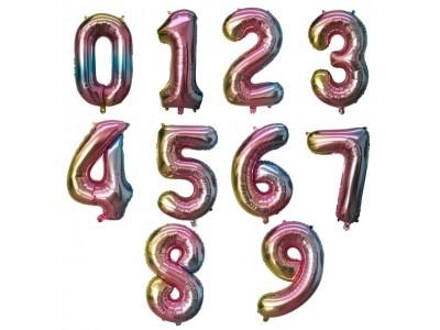 Цифры фольгированные Радуга омбре, Слим, высота 1 м