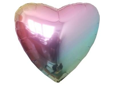 """Сердце омбре радуга, 18"""""""