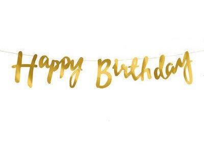 Гирлянда Happy Birthday, золото, 1,5 м