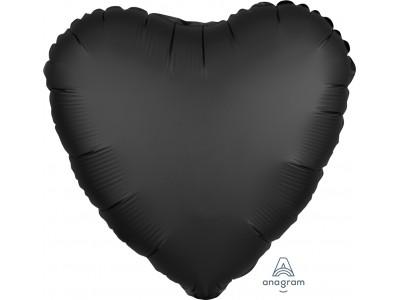 """Сердце черное сатин 18"""""""