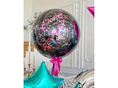 Стеклянный шар-гигант 75 см с блестками