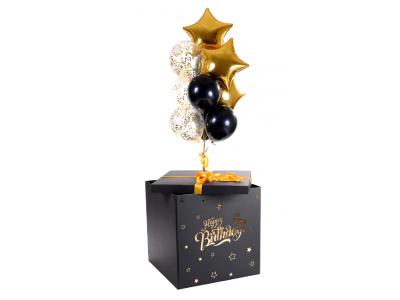 Коробка-сюрприз 70*70*70 Черная с золотой/серебряной индивидуальной надписью