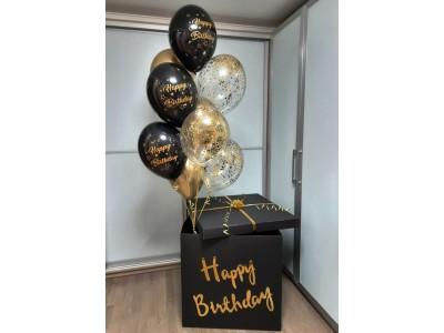 Коробка с гирляндой и шарами Черное золото