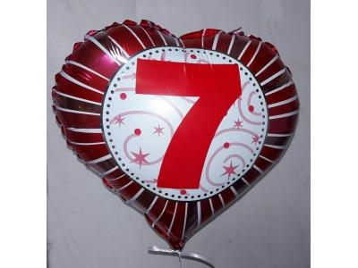 Цифра на фольгированном сердце (от 0 до 9)