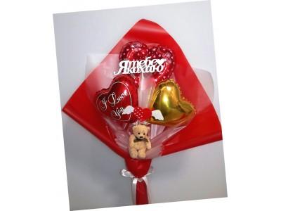 Крафтовый букет из шаров Валентинка